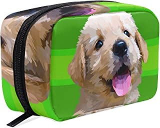 MASSIKOA Small Fluffy Dog Golden Retriever Breed Handy Cosmetic Pouch Clutch Makeup Bag Organizer Travel Bag