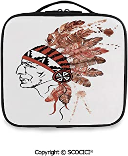 SCOCICI Large Capacity Travel Handle Wash Bag Artistic Portrait Native American Tribe Chief with Traditionaldress Decorative Organize Personal Items for Women Girls