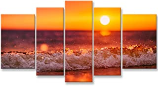 So Crazy Art- Red Ocean Wall Art Decor Sea Beach on Tropical Island at Sunset Canvas Pictures Artwork 5 Panel Seascape Pai...