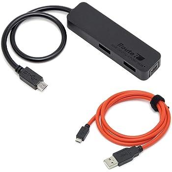 ルートアール 充電可能 自動最適化回路搭載 4ポートUSBハブ (給電ケーブル付き) RUH-OTGU4SN+C