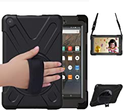 Fire HD 8 Case(8th & 7th Generation, 2018/2017 Release), Herize Heavy Duty Shockproof Hard Dutable Rugged Protective Rubber Case with Stand & Hand Strap for Amazon Kindle Fire HD 8 Tablet Black