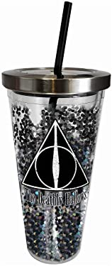 Spoontiques Harry Potter Deathly Hallows Glitter Cup w/Straw, 20 ounces, Black