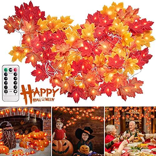 Ahornblätter Lichterketten, 6M 40LED Herbst Blättergirlande 8 Modis mit Fernbedienung, Lichterkette Herbst, Herbstgirlande mit Led, Herbstdeko für Garten Außen, Thanksgiving, Halloween