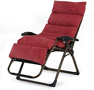 Carl Artbay Footstool Red Wine Folding Chair Lunch Break Lounge Chair Sleeping Chair Leisure Lazy Sofa Chairs for The Elderly Home