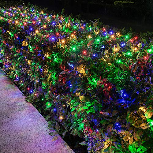Lomotech 12ft x 5ft 360 LED Connectable Christmas Net Lights, 8 Modes Low Voltage Mesh Fairy String Lights for Christmas Trees, Bushes, Wedding, Garden, Outdoor Decorations (Green Wire, Multicolor)