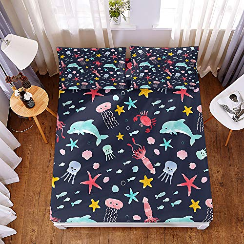 Bedding Fitted Sheets with 2 Pillowcases, Morbuy Cartoon Animals 3D Printed Bedding Microfiber Soft Fade Resistant Bed Sheets for Single Double King Size Bedsheet Extra Deep 30cm (200 * 200 * 30cm,A)