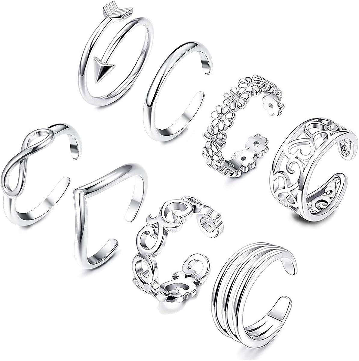 Latest item KOHOTA 8PCS Open Toe Rings Very popular! Women Set Adjustab Hypoallergenic for