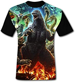 Ichenquxi Custom God-Zilla 3D Print Adult T- Shirts for Men