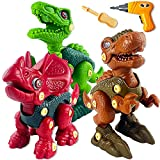 Take Apart Dinosaur Toys for Kids 3-5 Boy Gifts Toys for 3 4 5 6 7 Year Old Boys, 3 Pack Building Toys Set with Electric Drill Toddler STEM Learning Christmas Birthday Gifts for Kids Ages 3-7