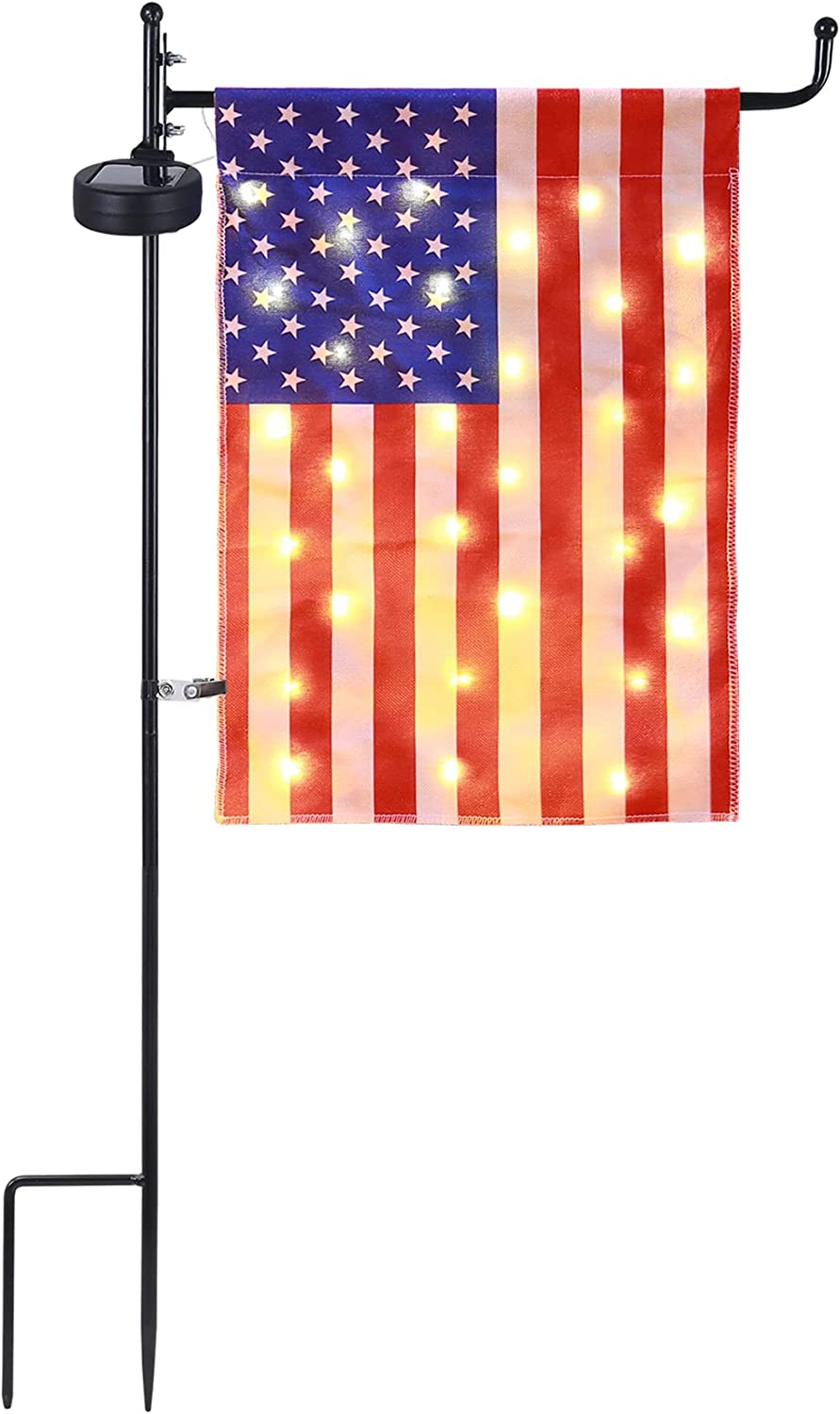 American Flag Garden Flag with Pole, Solar Powered LED USA Flags with Metal Holder Stand, 12x16.5 Inch Double Sided Flag for Outside In Ground, Weather-Resistant Outdoor Flag for Patio Yard Path Doorway