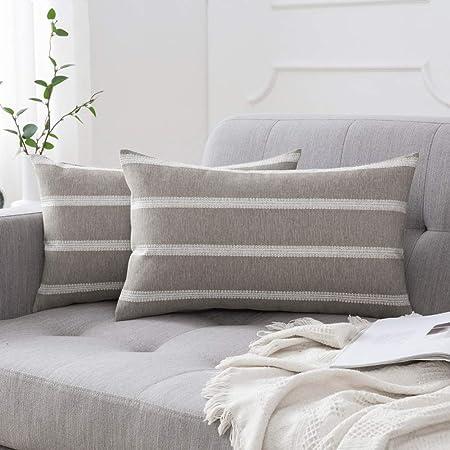 MIULEE - Juego de 2 fundas de almohada decorativas a rayas modernas de lino y encaje para sofá cama, 30,5 x 50,8 cm, color topo