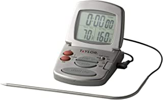 Taylor Precision Products Digital Cooking Thermometer with Probe and Timer, One Size, Silver