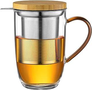 ecooe Szklany kubek do herbaty 440 ml, borokrzemowy, szklanka do herbaty z ultra drobnym sitkiem ze stali nierdzewnej 18/1...