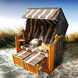 BRAST Strandkorb Deluxe 2-Sitzer XXL für 2 Personen 120cm breit mehrere Designs incl. Abdeckhaube Farbe Karo Rot/Grün/Beige