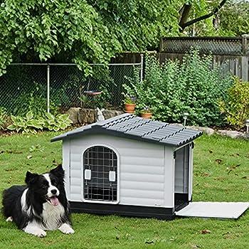 Pawhut Niche Chien Style Cottage dim. 91L x 69l x 66H cm Petite Porte grillagée + Grande Porte latérale verrouillable PP Blanc Gris Noir