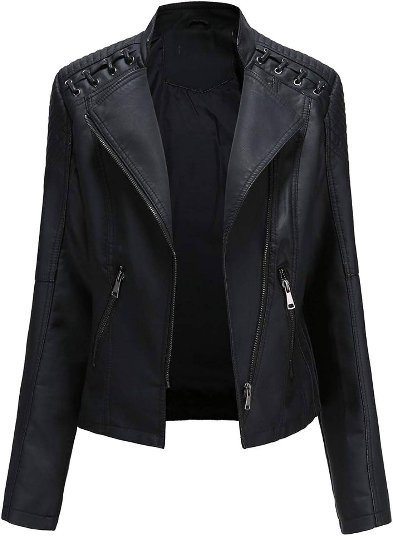 Plus Size Women's Faux Leather Jacket Lace Up Moto Biker Zipper Fitted Slim Coat Outwear Outfits