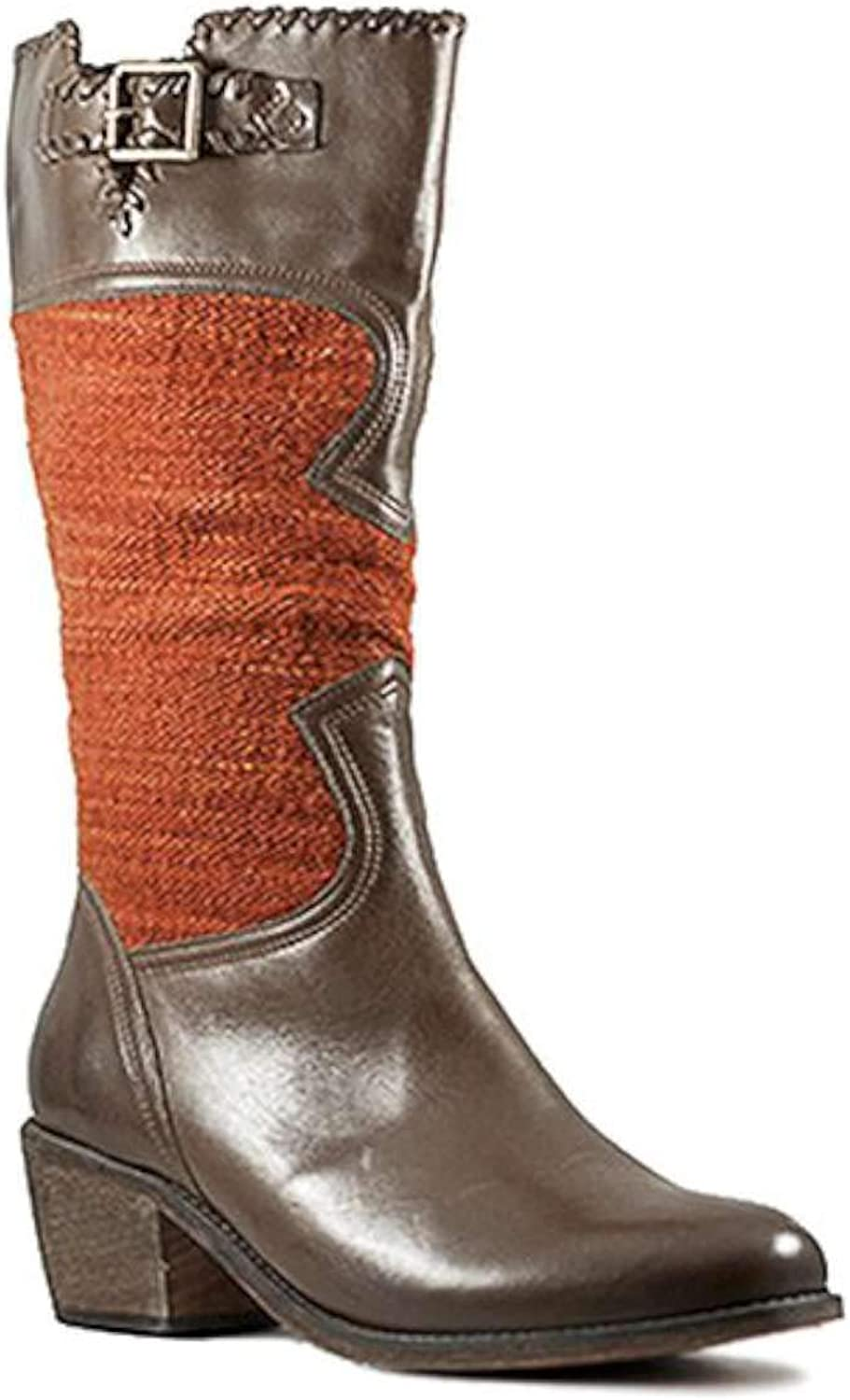 Fortress of Inca Womens Sienna Grace Leather Almond Toe Mid-Calf Cowboy Boots