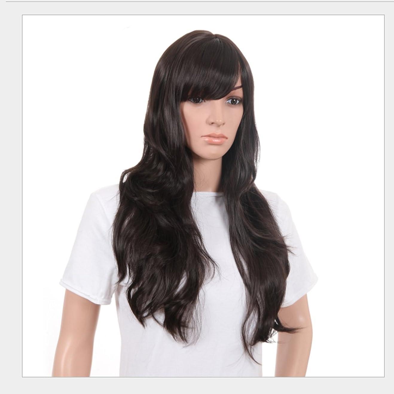 しゃがむ傾く公平なDoyvanntgo 女性のための新鮮で素敵な髪型ウィッグロングストレートヘアーパーソナリティオブリックバングウィッグパーソナリティヘアナチュラルカラー21inchの長さのためのふわふわかつら(黒、ベージュ) (Color : ブラック)