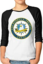 Joosp USS Harry S. Truman CVN-75 Women's 3/4 Sleeve Raglan Cotton T-Shirts