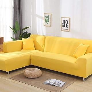 KTUCN Housses de canapé, 2 pièces Housses pour canapé en Forme de L canapé d'angle Salon Housses de Chaise Longue, Jaune, ...