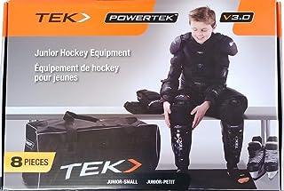 PowerTek V3.0 8-Piece Junior Ice Hockey Equipment Pads, Starter Set Kit (Junior Small Size)