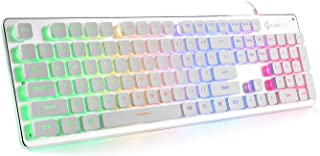 LANGTU Membrane Gaming Keyboard, Rainbow LED Backlit Quiet K