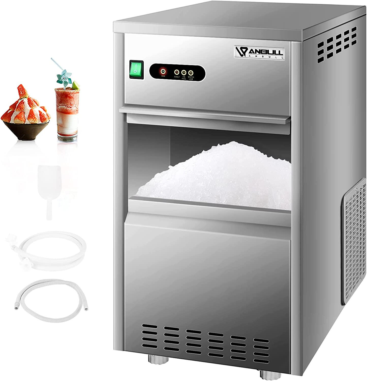 Anbull 110V Commercial Snowflake Crushed Ice Maker, 55LBS/24H, Food Grade Stainless Steel, ETL Approved, Easy Operating & Freestanding Ice Machine, Ideal for Restaurant/Seafood Store/Butcher Shop