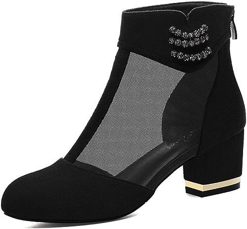 ZHRUI Bottines et Glands d'hiver pour Femmes Bottes pour Femme Bottes de Neige augHommestées Chaussures à Talons Hauts pour Femmes (Couleuré   Noir, Taille   34)