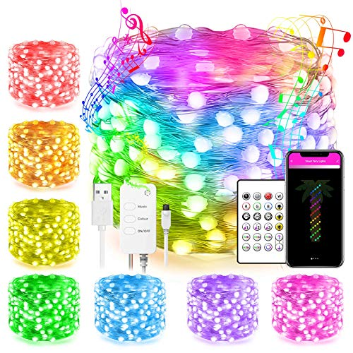 Smart Rgbic Led Fairy String Lights Work with Alexa Google Home Remote App Control Music Sync 33Ft Hanging Twinkle Lights for Indoor Outdoor Decor