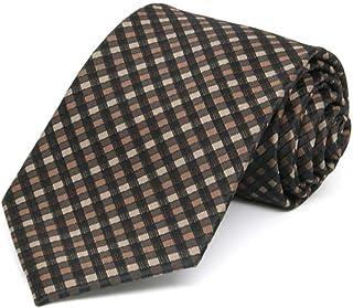 TieMart Boys' Light Brown George Plaid Necktie