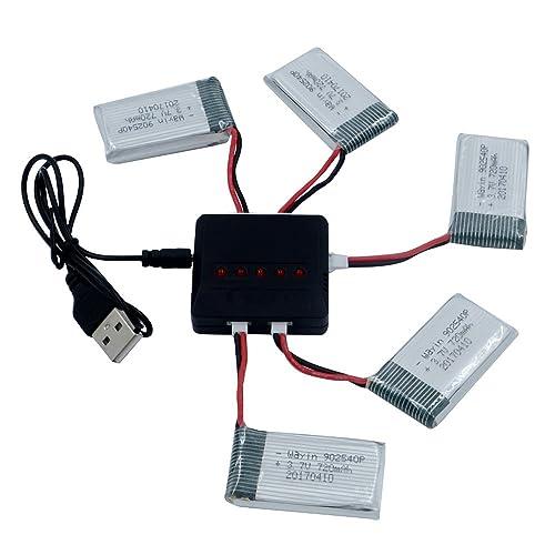 WayIn® 5pcs 3.7V 720mAh Lipo Batteries + 5 en 1 chargeur pour Syma x5C X5SW X5SC X5