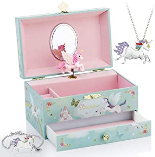 Kids Musical Jewelry Box for Girls with Big Drawer and Jewelry Set with Magical Unicorn - Blue Danube Tune Pink