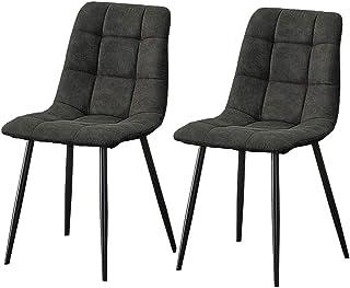 CLIPOP Juego de 2 sillas de comedor de piel gris con respaldo y patas de metal, sillas de cocina, oficina, salón, dormitorio (gris)