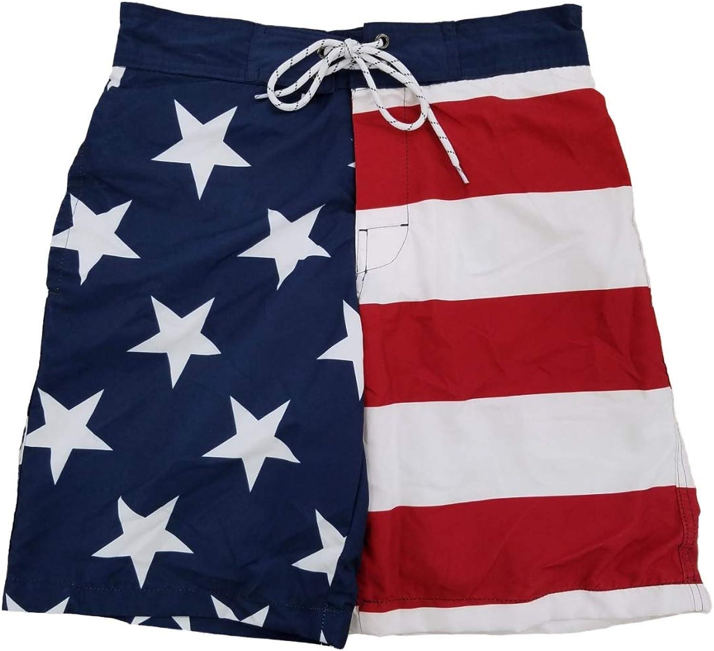 St. John's Bay Mens USA Patriotic US Flag American Flag Swim Trunks Board Shorts