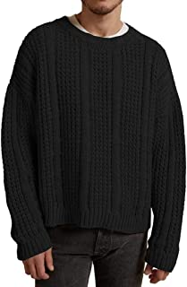 eipogp Men's Oversized Sweaters Solid Long Sleeve Pullover Ribbed Knit Jumper Winter Thermal Blouse Tops