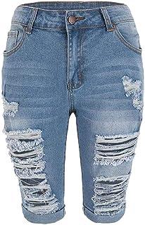 HEFASDM Womens Highwaist Stretch Distressed Body Enhancing Denim Shorts Jeans