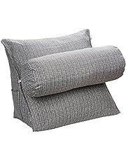 HALOViE Almohada ajustable de cuña y triángulo con soporte para la espalda, ángulo y cuello para lectura, sofá, cama, oficina y silla 47 * 45 * 23cm Gris