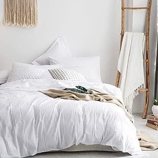 Merryfeel 100% Cotton Woven Stripe Duvet Cover Set-White Stripe King