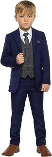 Paisley of London, Traje azul para niños, traje de chico de página, trajes de ajuste delgado, chaleco a cuadros, 12-18 mes...