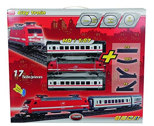 Dickie - 3563900 - Locomotive avec lumière et son - 2 wagons et rails inclus - 21 cm - Rouge/blanc