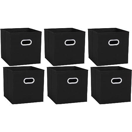 Amazon Brand – Umi Cube de rangement tissu, caisse de rangement, casier rangement, rangement vetement, boite de rangement tissu, avec 2 Poignées en Plastique,30,5 x 30,5 x 30,5, Noir