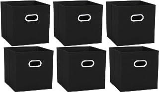 UMI. by Amazon - Cubos de Almacenaje de Tela Set de 6 Cajas de Almacenamiento Plegables con 2 Manillas Plásticas para Gu...