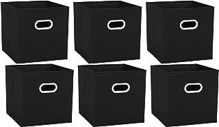 Umi. by Amazon - Cubos de almacenaje de tela, set de 6 cajas de almacenamiento plegables con 2 manillas plásticas, para guardar ropa, juguetes, para casa, oficina, negro, 30,5 x 30,5 x 30,5 cm