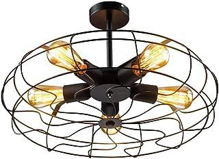 Araña Industrial Vintage Ventilador Creativo Colgante de Luz 5 Flammig Negro Lámpara de Hierro Forjado Cuerpo Jaula de Ala...
