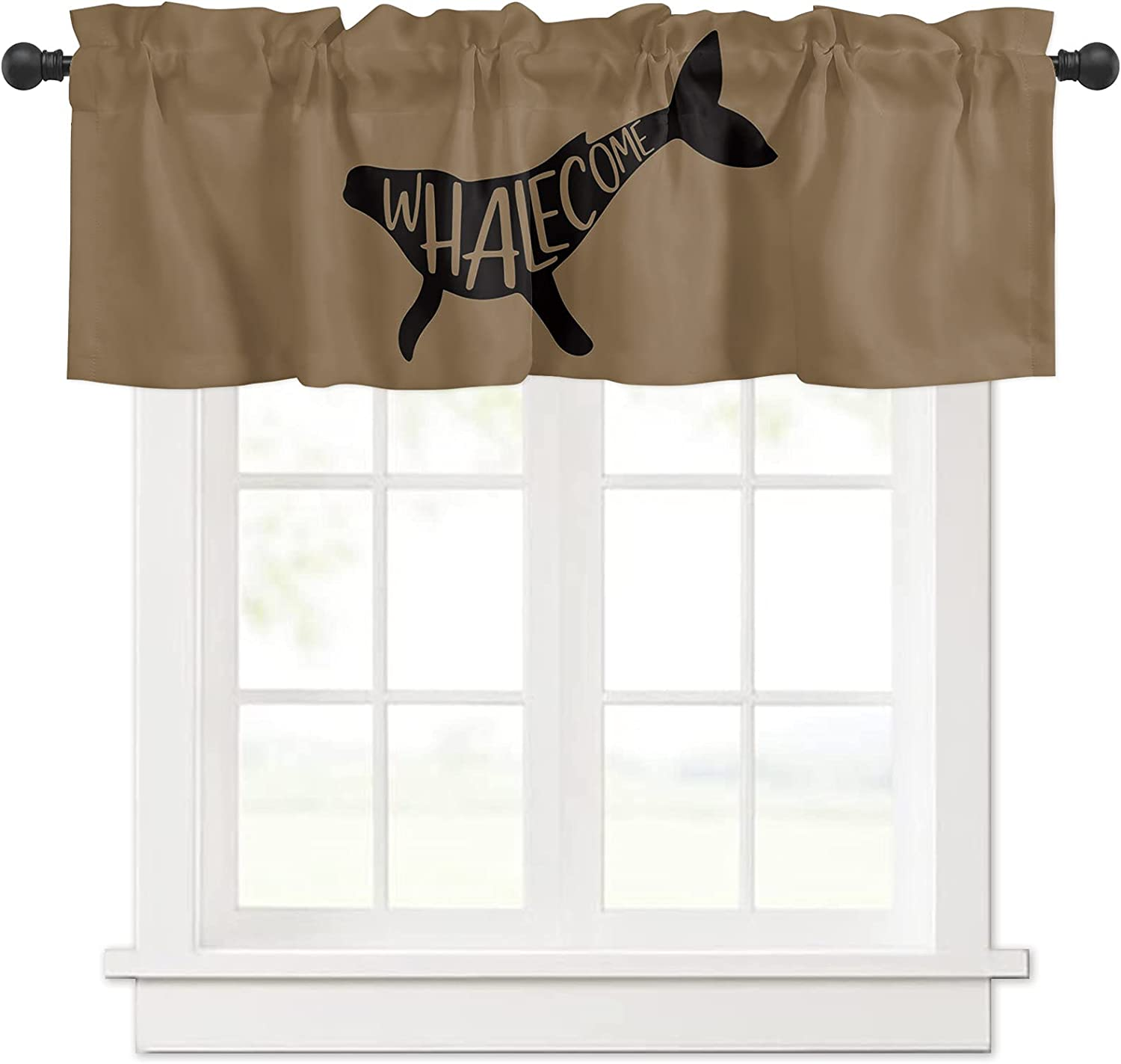 Black Whalecome Cartoon Selling rankings Brown Backdrop Valances for New product! New type Wind Curtain