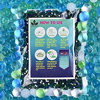 AINOLWAY Water Beads  Half Pound  for Ocean Explorers  Tactile Sensory Experience - 5 Colors Growing Crystal Bead Ocean Exploration - Kit for Kids Sensory Play 20,000ct…