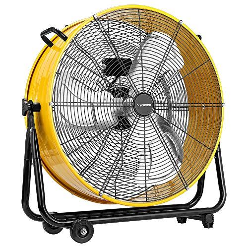 "VIVOSUN Industrial Tilt Drum Fan 24"" Heavy Duty High Velocity Floor Standing Fan 3 Speed Air Circulation Best for Basement Warehouse Factory, ETL Certified"
