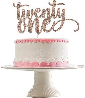 Rose Gold Glittery Twenty One Cake Topper- 21st Birthday Cake Topper,21st Birthday Cake Decor,Wedding Anniversary Party De...