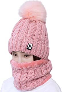 Womens Beanie Hat Scarf Set Lovely Ski Knit Warm Colorful Cap with Fleece Lined