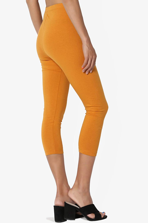 TheMogan Basic Cotton Jersey Elastic High Waist Mid Calf Length Capri Leggings
